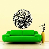 Wall Decal Vinyl Sticker Decals Yin Yang Symbol Geometric Floral Patterns Wall Stickers Home Decor Art Bedroom Design Interior Mural