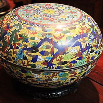 "Huge Vintage Chinese 1950s Yellow Cloisonne Round Box Dragon Motif w Stand 15""Di"