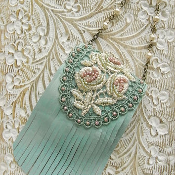 mini leather purse necklace - aqua mint, rose lace, green and pink, pearls, fringe purse, shabby chic necklace, boho, decorative