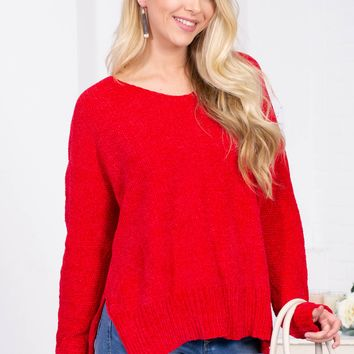 Cherry Red Chenille Sweater