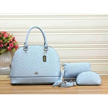 COACH Women Leather Handbag Tote Crossbody Clutch Bag Cosmetic Bag Set Three-Piece