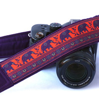 Lucky Elephants Camera Strap. Dark Purple Camera Strap.  DSLR SLR Camera Strap. Canon, Others, Nikon Camera Strap. Etsy Gifts