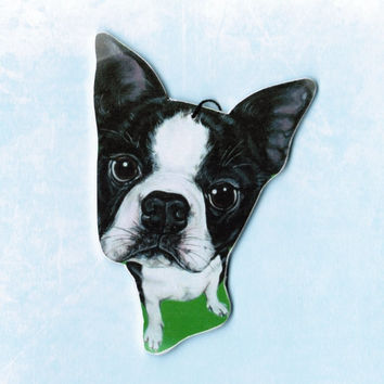 Boston Terrier Ornament - Boston Terrier Art - Pet Portrait - Terriers - Whimsical Dog Art - Dog Breed Art - Christmas - Weeze Mace