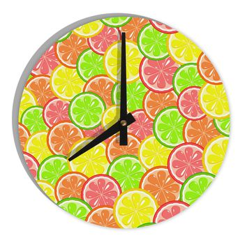 "Colorful Citrus Fruits 8"" Round Wall Clock  All Over Print"