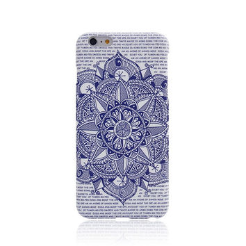 Blue Flos Daturae Creative Handmade Luminous  Light Up iPhone Cases for 5S 6 6S Plus