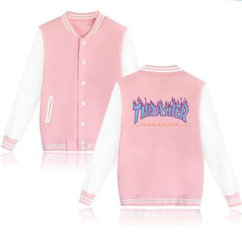 Thrasher flame special large size tide coat plus cashmere couple baseball clothing Blue letters-1
