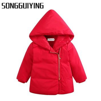 SONGGUIYING A10 Winter Children Girls Boys Warm Thick Down Parkas Children Long Outerwear Hooded Jacket Coat Clothing for Kids