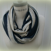 Stripes Infinity Scarf Women Scarves FREE SHIPPING Scarf Navy blue beige silver  Cowl  Scarf  - By PiYOYO