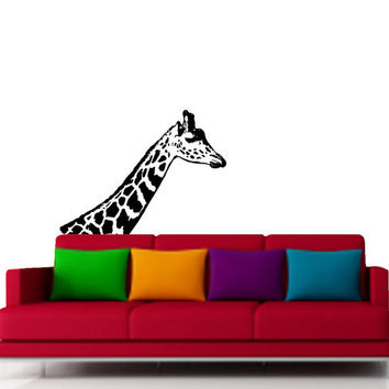 Tall Giraffe Neck Vinyl Decor for Room Decoration -Vinyl Decal - Wall Art  - Wall Decal