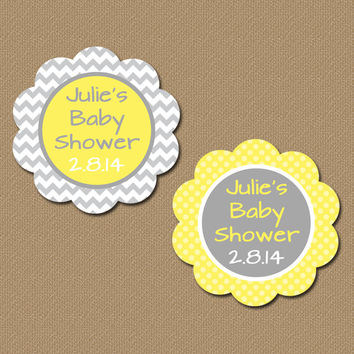 Personalized Yellow and Grey Chevron Party Favor Tags - Printable Baby Shower Tags Gender Neutral Baby Shower Labels DIY Favors Custom