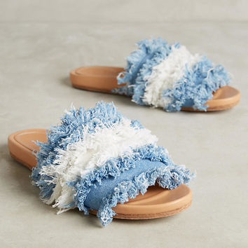 Frayed Denim Slides