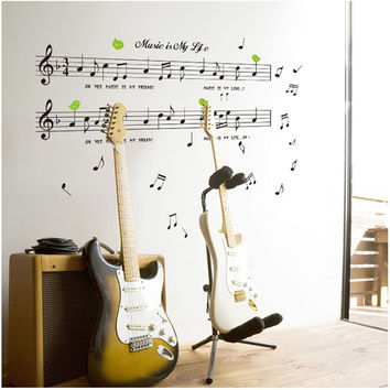 1set Large Size 70*120cm Music Sticker Music Is My Life Theme Music Bedroom Decor & Dancing Music Note Removable Wall Sticker SM6