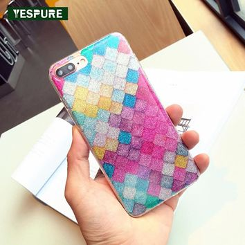 YESPURE Hot Selling Bling Glitter TPU Soft Cell Phone Case for Iphone 7 plus 2017 New Bling Glitter Silicone 360 Full cover