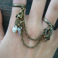 mermaid abalone double ring chained with starfish and shells