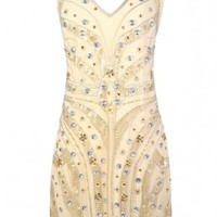 Lily Boutique Roaring 20s Dress, Great Gatsby Dress, Gatsby Dress, 1920s Dress, Beaded and Sequin Great Gatsby Dress, Beaded Gold Dress, Sequin and Rhinestone Roaring 20s Dress, Beige Embellished Dress, Beige Embellished Party Dress, Golden Twenties Beaded