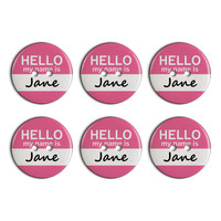 Jane Hello My Name Is Plastic Resin Button Set of 6