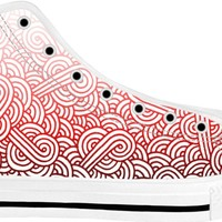 Gradient red and white swirls doodles White High Tops