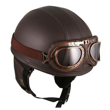 Vintage Leather Brown Biker Helmet by Hanmi