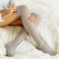 Crochet Double Cuff Over-The-Knee Sock
