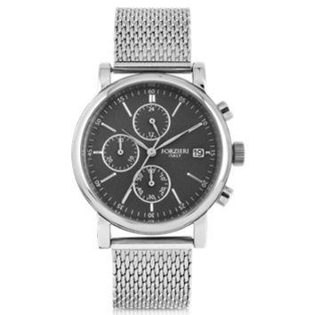 Forzieri Designer Men's Watches Berlino Silver Tone Stainless Steel Men's Chrono Watch