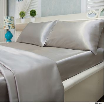 Satin Silky Solid Sheet Set Quality Bedding Many Colors Twin Full Queen King Cal