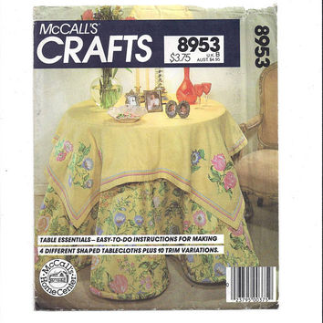 McCall's 8953 Crafts Pattern for Table Essentials, Shaped Round & Oval Tablecloths with Swags, From 1980s, Instruction Book, Vintage Pattern