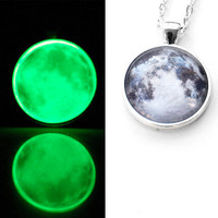 Glow In The Dark Full Moon Necklace / Glass Moon Necklace