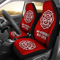 1 Set Firefighter Custom Printed Car Seat Covers (set of 2)