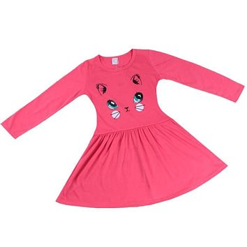 2017 Princess Girls Dress Cartoon Cat Printed Cotton Baby Girl Long Sleeve Dress Party Mini Dresses New