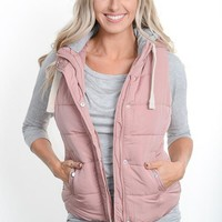 Mauve Hooded Puffer Vest