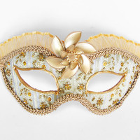 Peridot Green And Gold Masquerade Mask - Venetian Mask Embellished With Glass Beads And Sequins