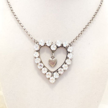 Swarovski DIAMOND CRYSTAL HEART pendant, valentines day, great gift, large heart