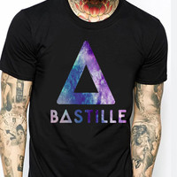 Bastille Band Cool Logo Galaxy TV Mens T-shirt Black and White