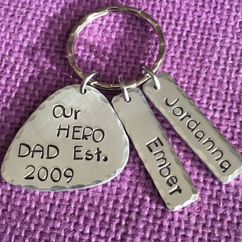 Dad Gift - Dad Keychain - Gift for Dad - Father's Day gift - Dad, est... Dad our hero - Picked you - Best dad - Dad gift