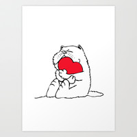Persian Cat Heart Art Print by Huebucket
