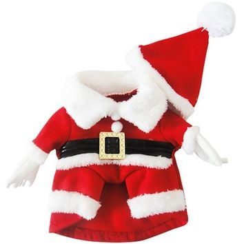 Santa Claus Dogs Costume Christmas Pet Dress Up Products With Hat Puppy Dogs Cats Supplies Outwear Clothes Red Black Belt Coats