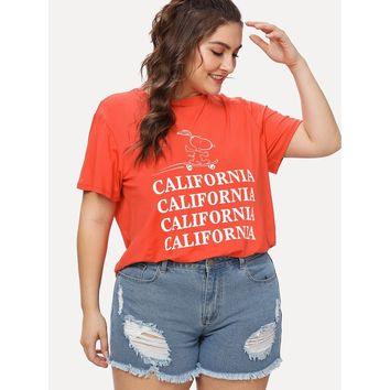Plus California Cartoon Graphic Tee