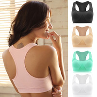 5 Color/ 3 size Professional Absorb Sweat Top Athletic Vest Tanks , Gym Fitness Women Seamless Padded Sports Bra M L XL