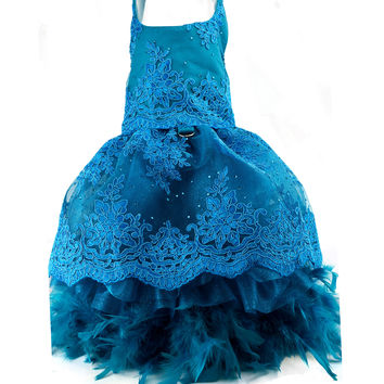 Peacock Blue Lace & Feather Gown