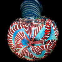 Huge Blue & White Helix Striped Glass Spoon with Red Latticino Extra Deep Bowl - Silver Fumed Color Changing Borosilicate Smoking Pipe