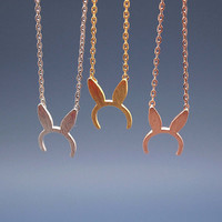 Bunny Ears hairband pendant charm Necklace in matte gold /silver / pink gold