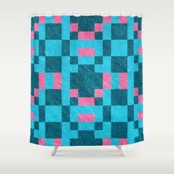 Teal Pink Pixel Pattern Shower Curtain by Likelikes | Society6