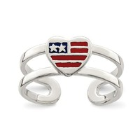 Sterling Silver Enameled American Flag Heart Toe Ring