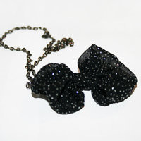 Black bow necklace - ABATABA