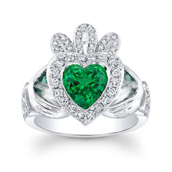 Ladies Irish Claddagh ring 14kt white gold with Green Heart Shape center and 0.40 ctw G-VS2 diamonds