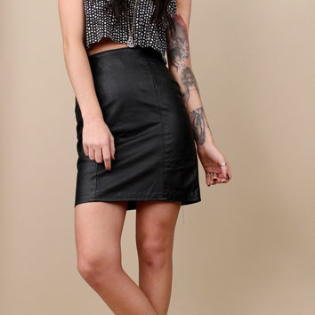 1980s vintage HIGH WAISTED Leather MINI Skirt / Sz Small / Extra Small / Grunge Club Kid Punk / Classic Pencil Skirt