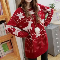 Deer Maple Leaf  Pattern Stylish Jewel Neck Long Sleeve Women's Christmas Sweater not available