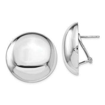 Silver Polished Button Omega Back Earrings