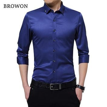 Browon Brand Silky Formal Shirt Men Classic Business Long Sleeve Solid Color Embroidery
