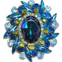 Juliana Bermuda Blue Brooch Earrings Set DeLizza & Elster